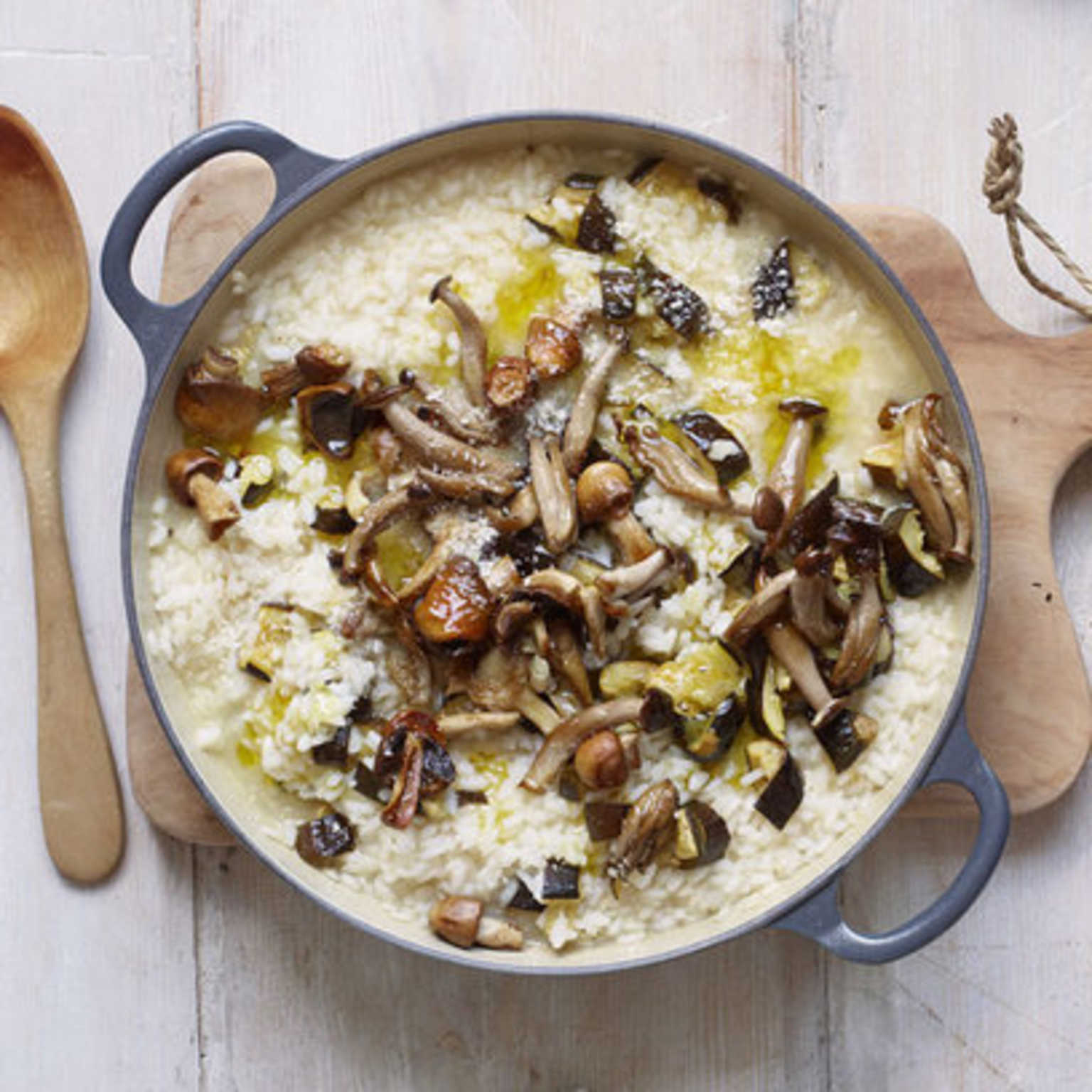 Gordon Ramsay's baked courgette & wild mushroom risotto